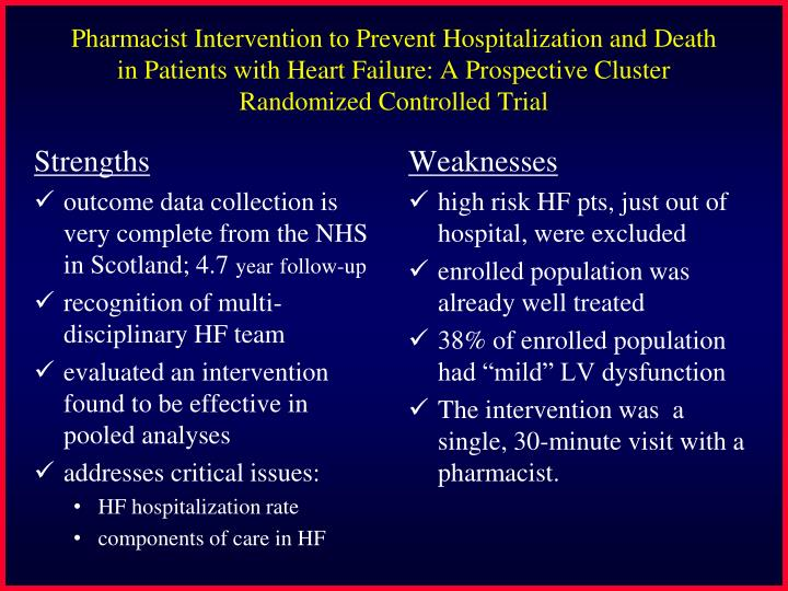 Pharmacist Intervention to Prevent Hospitalization and Death