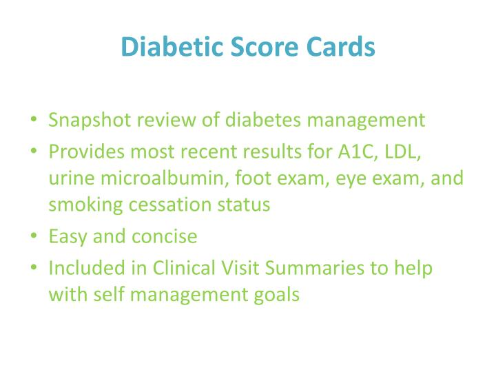Diabetic Score Cards