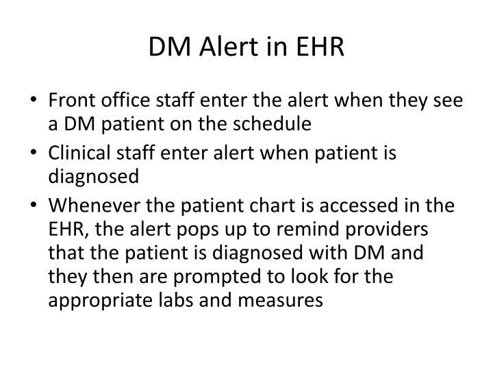 DM Alert in EHR