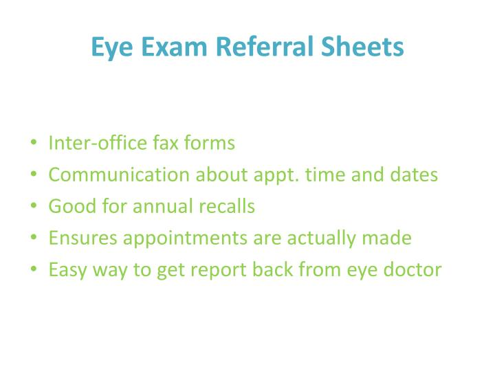 Eye Exam Referral Sheets