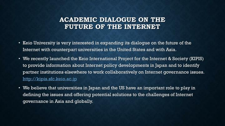 Academic dialogue on the