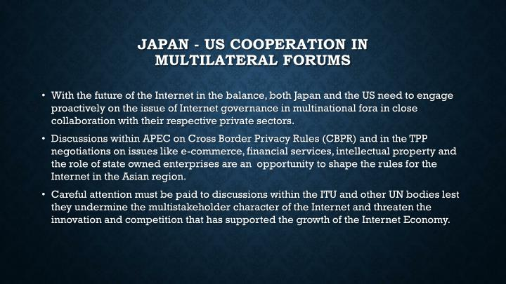 Japan - US Cooperation in