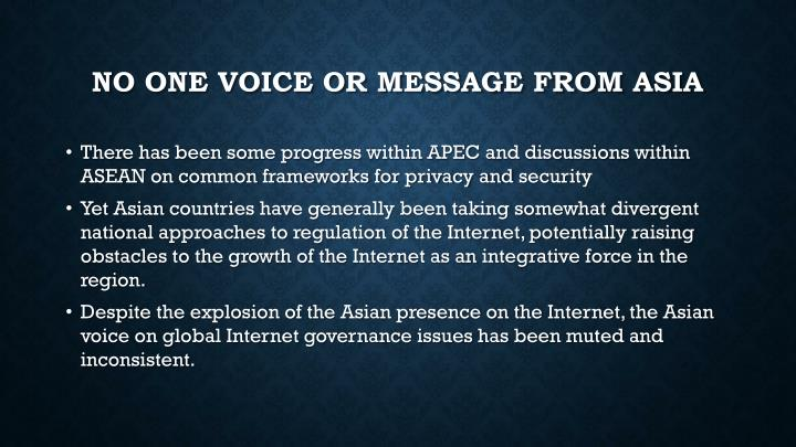NO One Voice or message from Asia