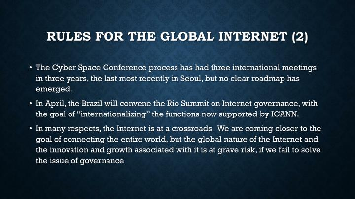 Rules for the Global Internet (2)