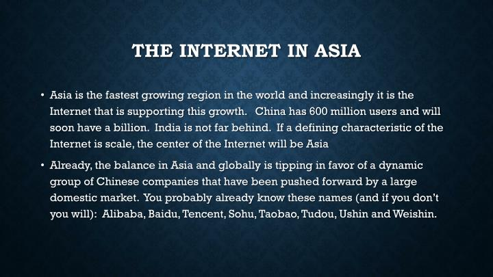 The internet in asia