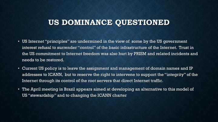 Us dominance Questioned