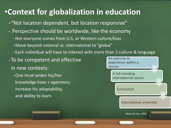 Context for globalization in education