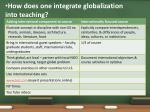 how does one integrate globalization into teaching