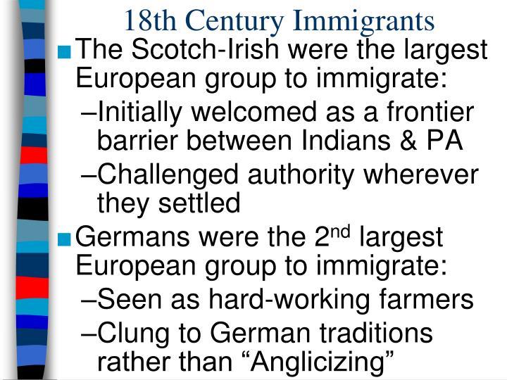 18th Century Immigrants