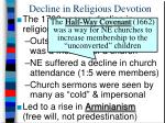 decline in religious devotion