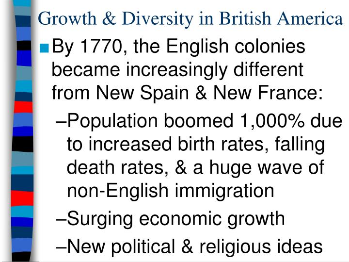 Growth & Diversity in British America