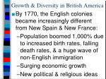 growth diversity in british america