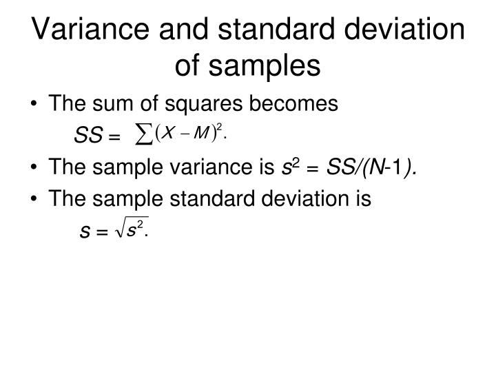 Variance and standard deviation of samples