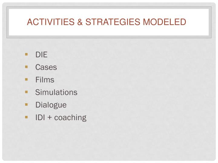 Activities & Strategies Modeled
