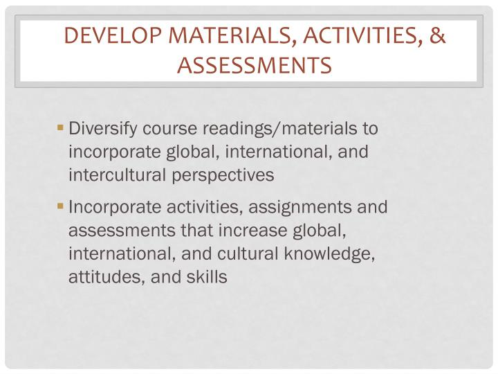 Develop Materials, Activities,