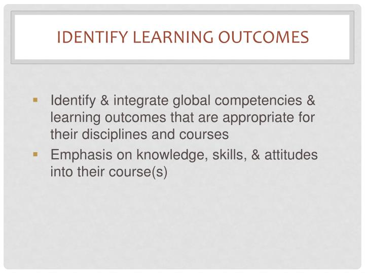 Identify Learning Outcomes