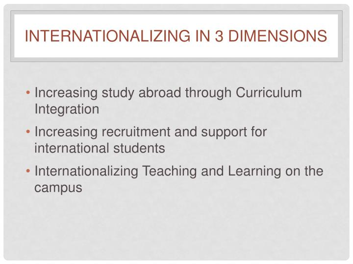 Internationalizing in 3 dimensions