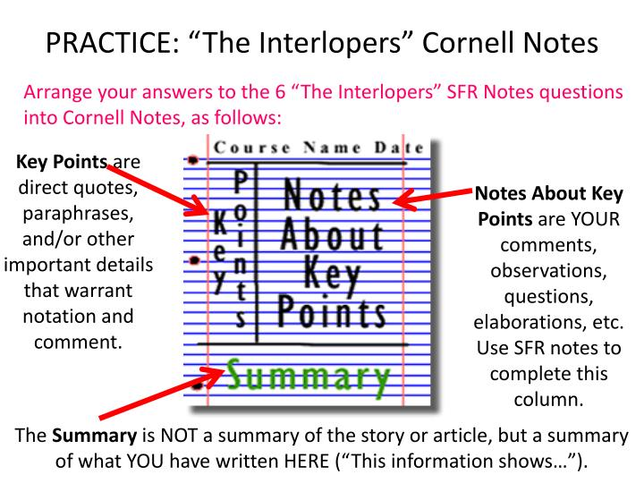 "PRACTICE: ""The Interlopers"" Cornell Notes"