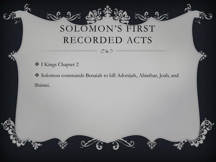 Solomon's first