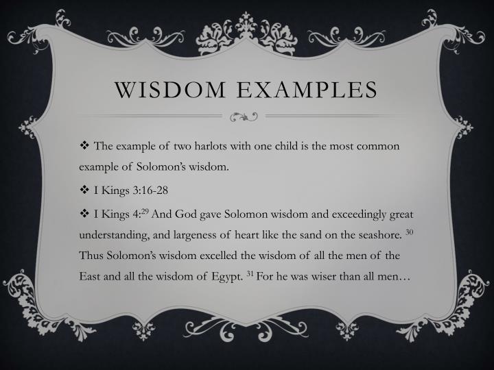 Wisdom examples