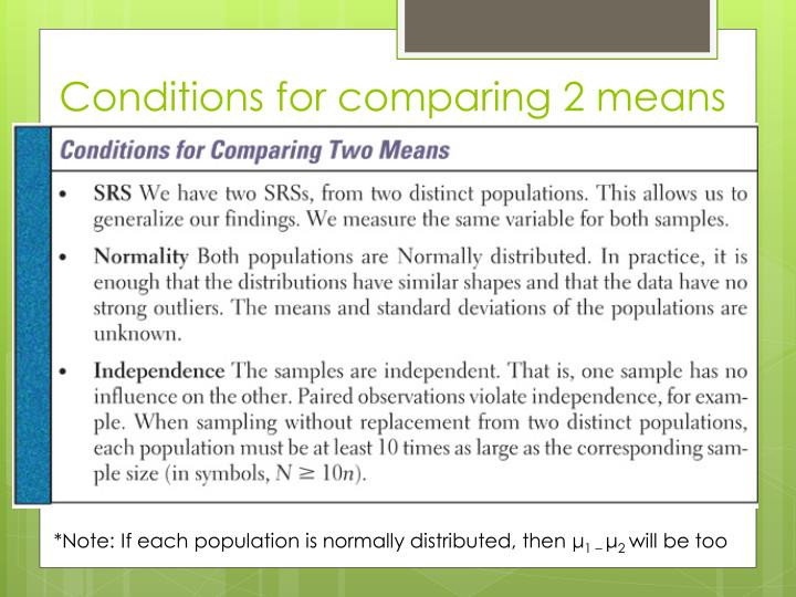 Conditions for comparing 2 means
