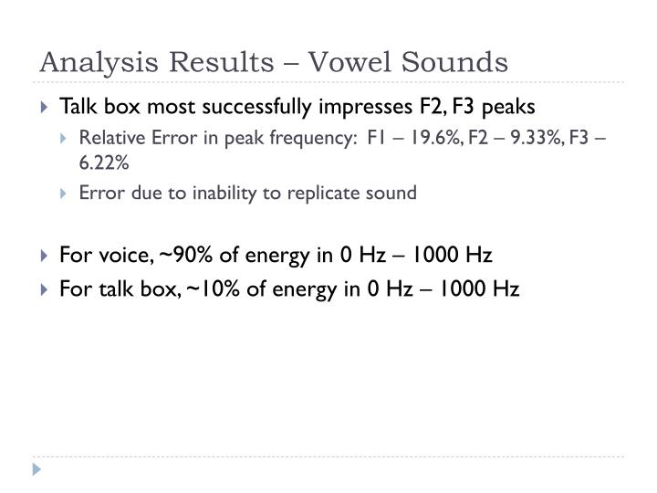 Analysis Results – Vowel Sounds