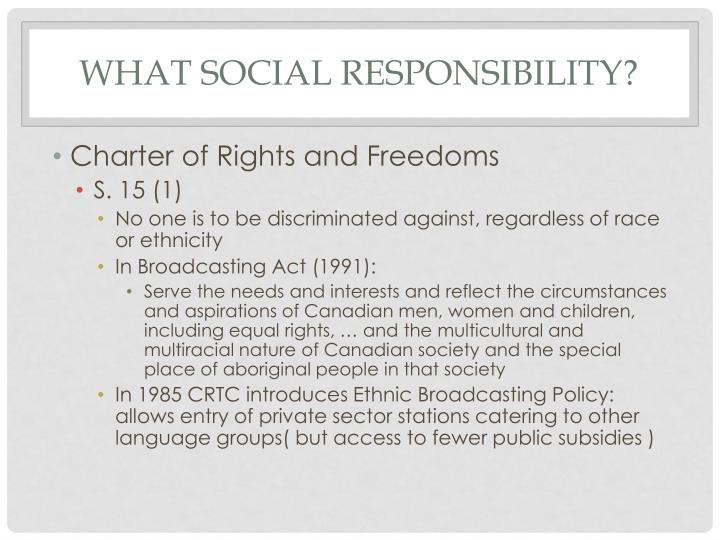 What Social Responsibility?