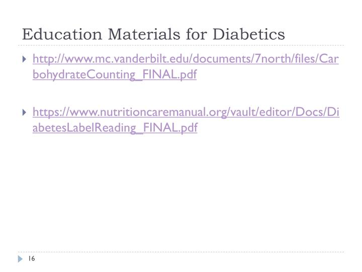Education Materials for Diabetics
