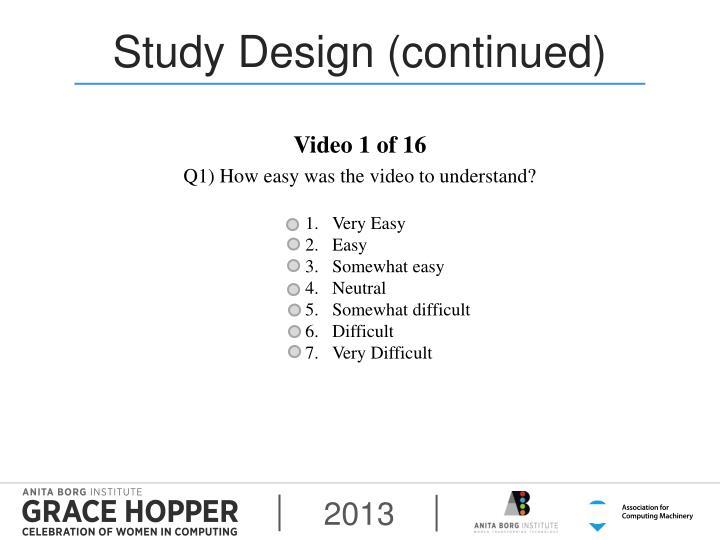 Study Design (continued)