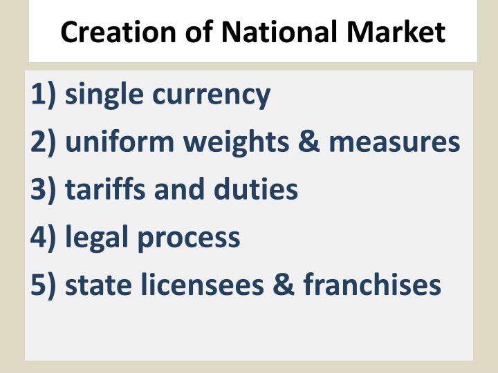 Creation of national market