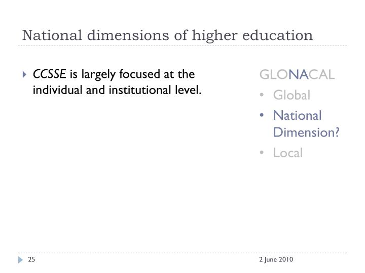 National dimensions of higher education