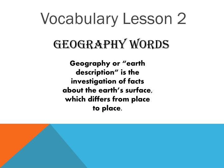 Vocabulary Lesson 2