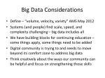big data considerations