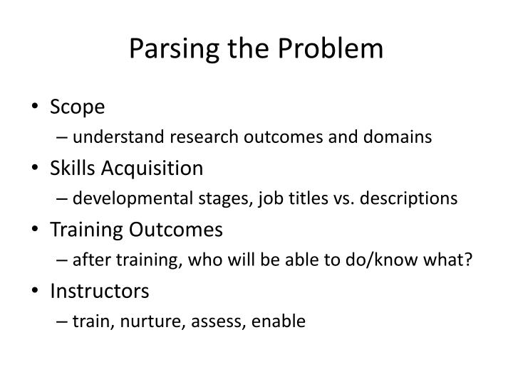 Parsing the Problem