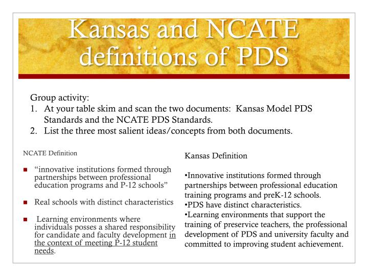 Kansas and NCATE definitions
