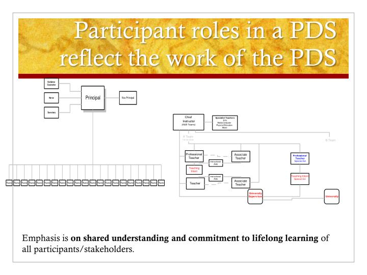 Participant roles in a PDS reflect the work of the PDS