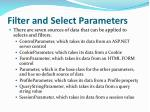 filter and select parameters