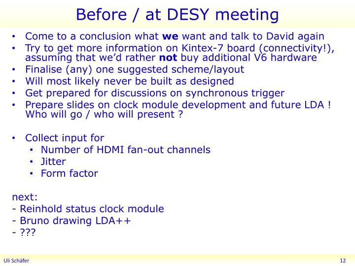 Before / at DESY meeting