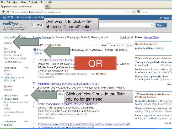 """One way is to click either of these """"Clear all"""" links."""