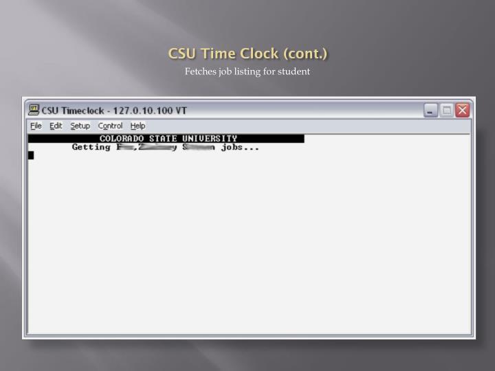 CSU Time Clock (cont.)
