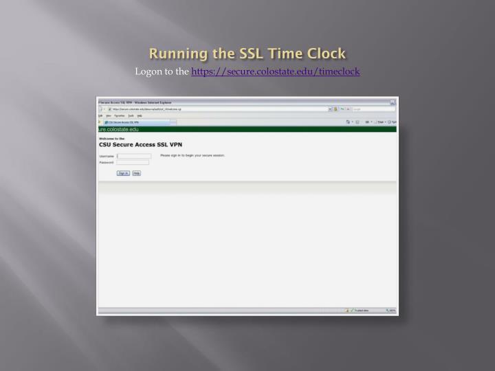 Running the SSL Time Clock
