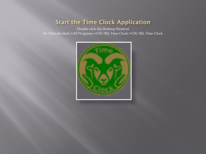 Start the Time Clock Application
