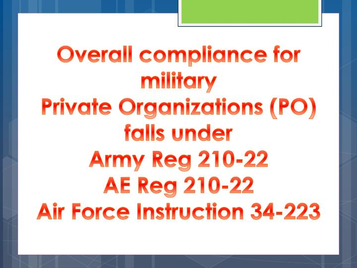 Overall compliance for military