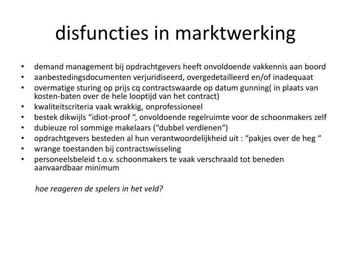 disfuncties in marktwerking