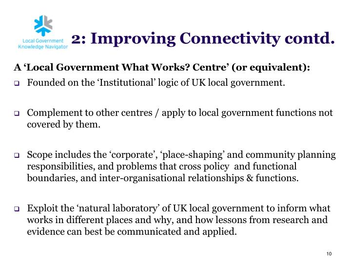 A 'Local Government What Works? Centre
