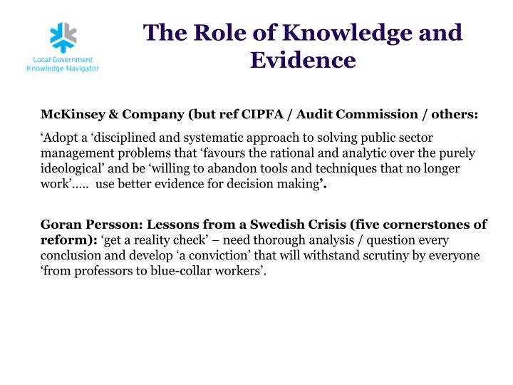 The role of knowledge and evidence