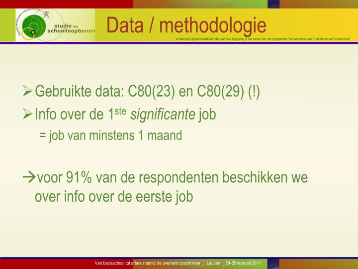 Data / methodologie