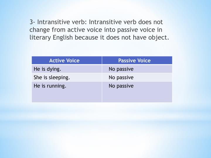 3- Intransitive verb: Intransitive verb does not change from active voice into passive voice in literary English because it does not have object.
