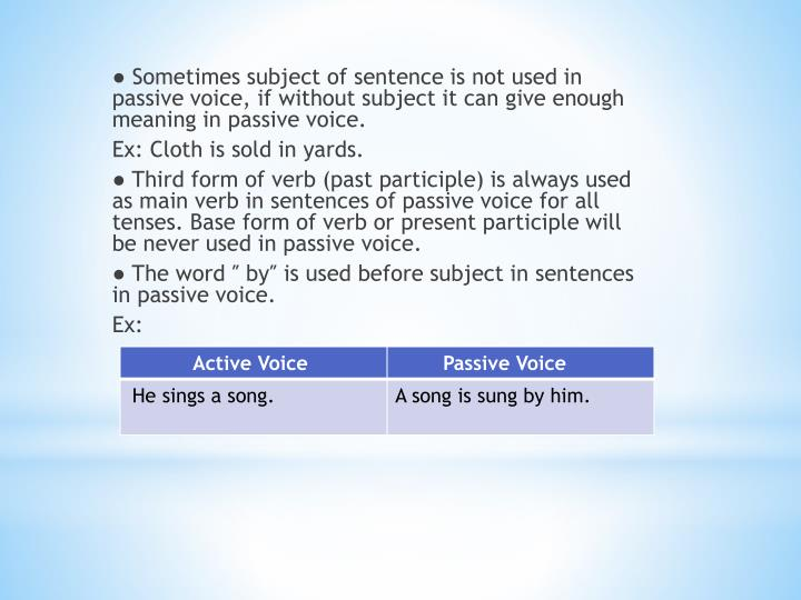 ● Sometimes subject of sentence is not used in passive voice, if without subject it can give enough meaning in passive voice.