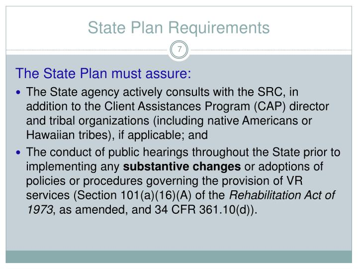 State Plan Requirements